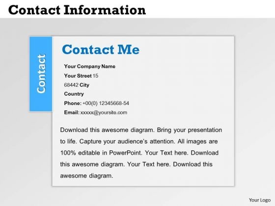Strategy Diagram Contact Information Slide Design Mba Models And Frameworks