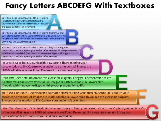 Strategy Diagram Fancy Letters Abcdefg With Textboxes Consulting Diagram