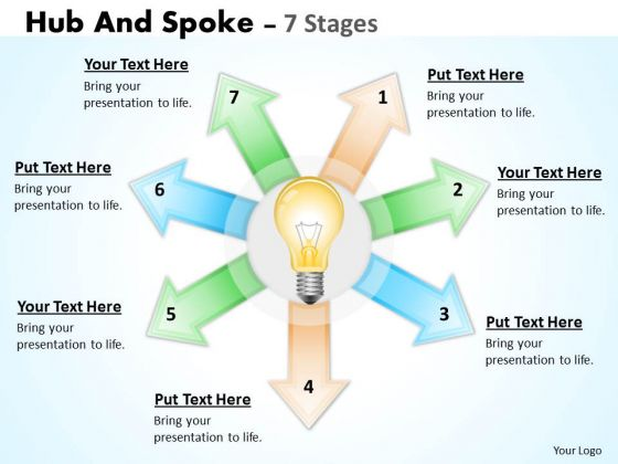Strategy Diagram Hub And Spoke 7 Stages Business Diagram