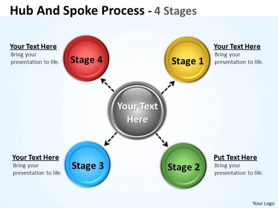 Strategy Diagram Hub And Spoke Process 4 Stages Sales Diagram