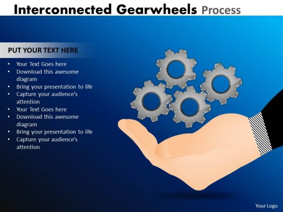 Strategy Diagram Interconnected Gearwheels Process Sales Diagram