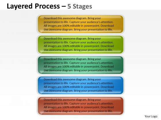 Strategy Diagram Layered Process 5 Stages Marketing Diagram