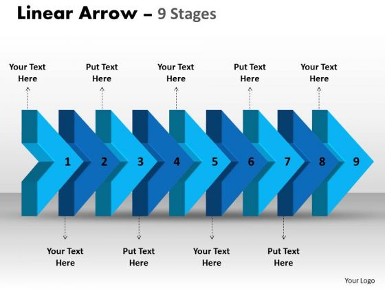 Strategy Diagram Linear Arrow 9 Stages Business Framework Model