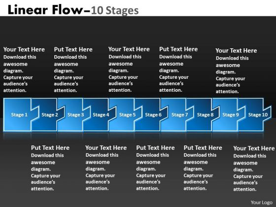 Strategy Diagram Linear Flow 10 Stages Sales Diagram