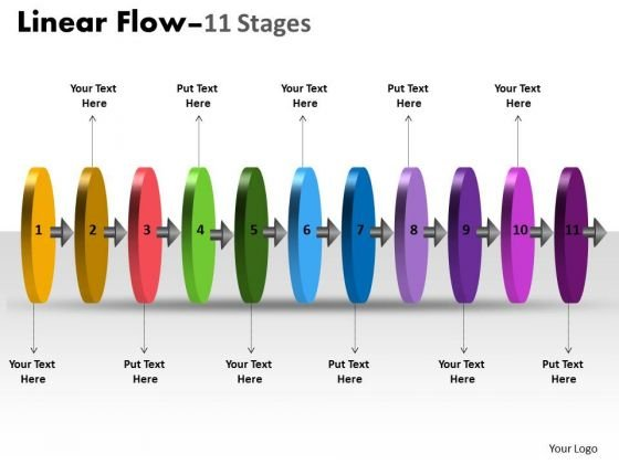 Strategy Diagram Linear Flow 11 Stages Sales Diagram