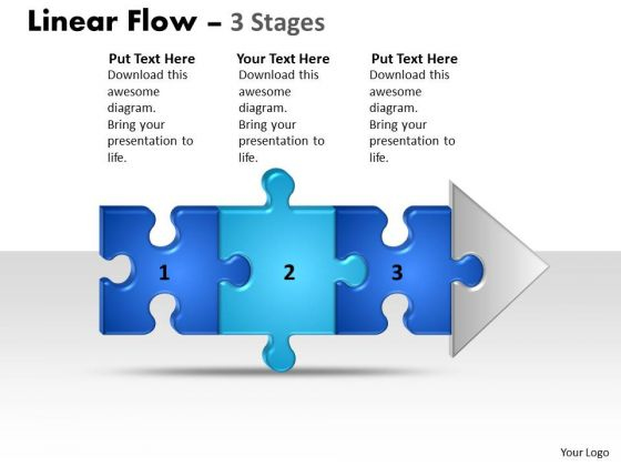 Strategy Diagram Linear Flow 3 Stages Strategic Management