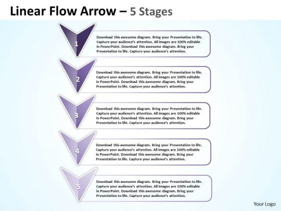 Strategy Diagram Linear Flow Arrow 5 Stages Strategic Management Business Diagram