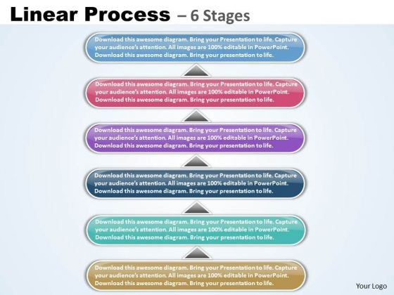 Strategy Diagram Linear Process 6 Stages Scaly Business Diagram