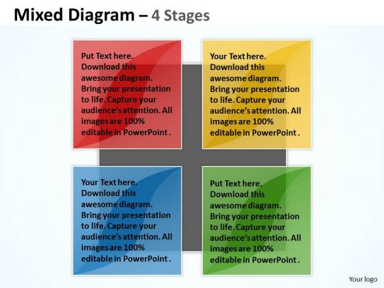 Strategy Diagram Mixed Chart For Marketing Process 4 Stages Mba Models And Frameworks