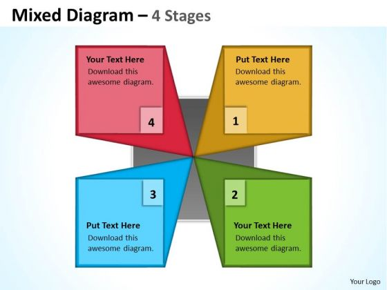 Strategy Diagram Mixed Diagram With Unique Design 4 Stages Consulting Diagram