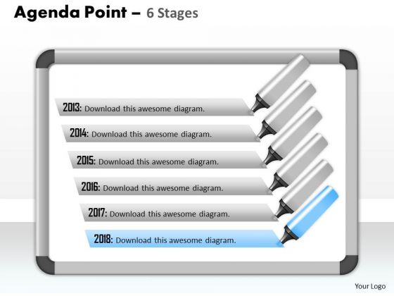 Strategy Diagram Six Staged Agenda Process Display Diagram Business Diagram