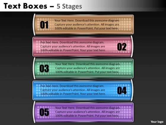 Strategy Diagram Text Boxes Ppt Design Business Diagram