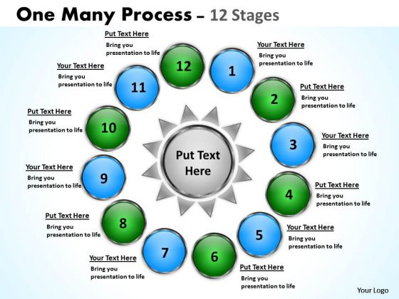 Strategy Diagram Twelve One Many Process Stages 11