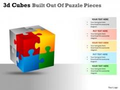 Business Cycle Diagram 3d Cubes Built Out Of Puzzle Pieces Business Diagram