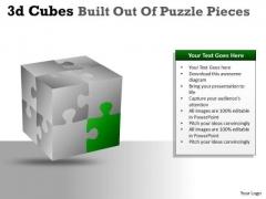 Business Cycle Diagram 3d Cubes Built Out Of Puzzle Pieces Strategic Management