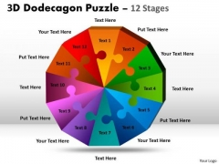 Business Cycle Diagram 3d Dodecagon Puzzle Diagram Process 12 Stages Consulting Diagram