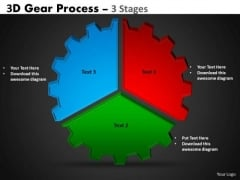 Business Cycle Diagram 3d Gear Process 3 Stages Business Diagram