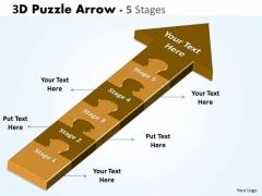 Business Cycle Diagram 3d Puzzle Arrow 5 Stages Strategic Management