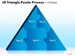 Business Cycle Diagram 3d Triangle Puzzle Process 5 Pieces Sales Diagram