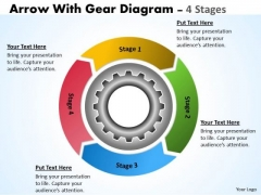 Business Cycle Diagram 4 Stages Gears Process For Improvement Business Diagram
