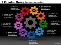 Business Cycle Diagram 9 Circular Gears Interconnected Sales Diagram
