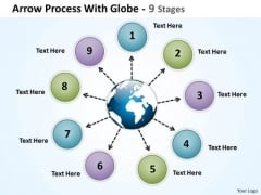 Business Cycle Diagram Arrow Process With Globe 9 Stages Business Diagram