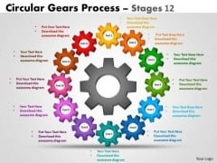 Business Cycle Diagram Circular Gears Process Stages 12 Strategy Diagram