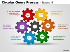 Business Cycle Diagram Circular Gears Process Stages 6 Strategy Diagram