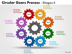 Business Cycle Diagram Circular Gears Process Stages 8 Business Framework Model