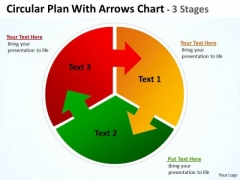 Business Cycle Diagram Circular Plan Three With Arrows Templates Chart 3 Stages Consulting Diagram