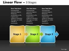 Business Cycle Diagram Linear Flow 3 Stages Strategy Diagram