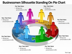Business Cycle Diagram Men Silhouettes Standing On Pie Chart Sales Diagram