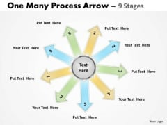 Business Cycle Diagram One Many Process Arrow 9 Stages Marketing Diagram