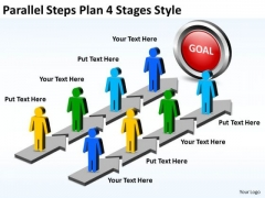 Business Cycle Diagram Parallel Steps Plan 4 Stages Style Consulting Diagram