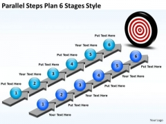 Business Cycle Diagram Parallel Steps Plan 6 Stages Style Strategic Management