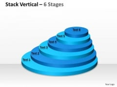 Business Cycle Diagram Stack Vertical With 6 Stages For Marketing Strategy Diagram