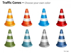 Business Cycle Diagram Traffic Cones Fallen Business Diagram