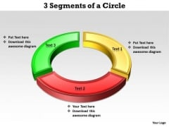 Business Diagram 3 Segments Of A Circle Sales Diagram