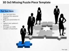 Business Diagram 3d 3x3 Missing Puzzle Piece 3 Business Finance Strategy Development