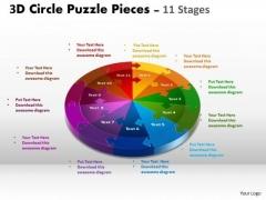 Business Diagram 3d Circle Puzzle Diagram 11 Stages Sales Diagram