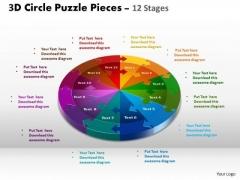 Business Diagram 3d Circle Puzzle Diagram 12 Stages Sales Diagram