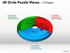 Business Diagram 3d Circle Puzzle Diagram 3 Templates Stages Slide Layout Sales Diagram