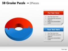 Business Diagram 3d Circular Puzzle 2 Pieces Strategic Management