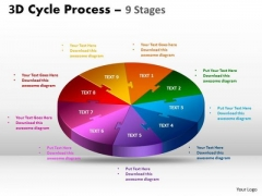 Business Diagram 3d Cycle Process Flow Chart 9 Stages Business Finance Strategy Development