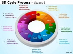 Business Diagram 3d Cycle Process Flowchart Stages 9 Business Framework Model