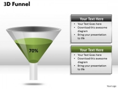 Business Diagram 3d Funnel Diagram Representing 70 Percent Strategic Management