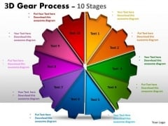 Business Diagram 3d Gear Process 10 Stages Strategy Diagram