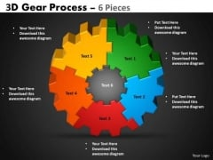 Business Diagram 3d Gear Process 6 Pieces Style Business Finance Strategy Development