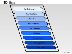 Business Diagram 3d List 9 Points Marketing Diagram