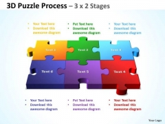 Business Diagram 3d Puzzle Process 3 X 2 Stages Sales Diagram